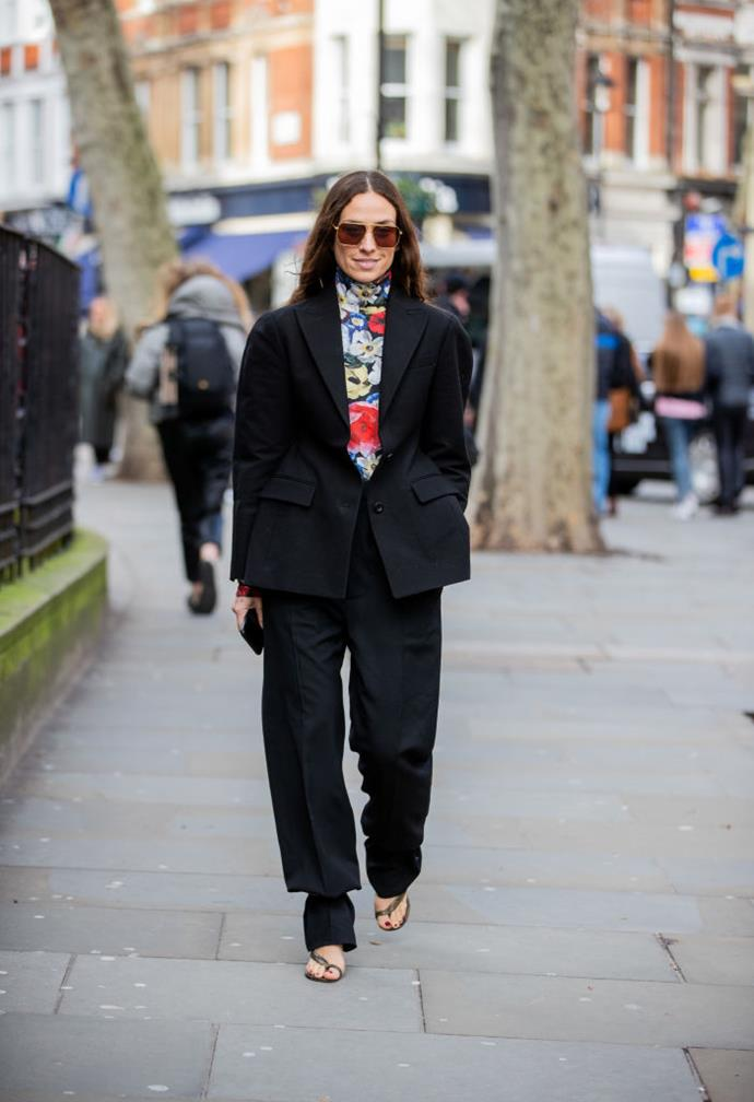On fashion influencer and Honieh Beauty founder Erika Boldrin at London Fashion Week autumn/winter '20/'21.