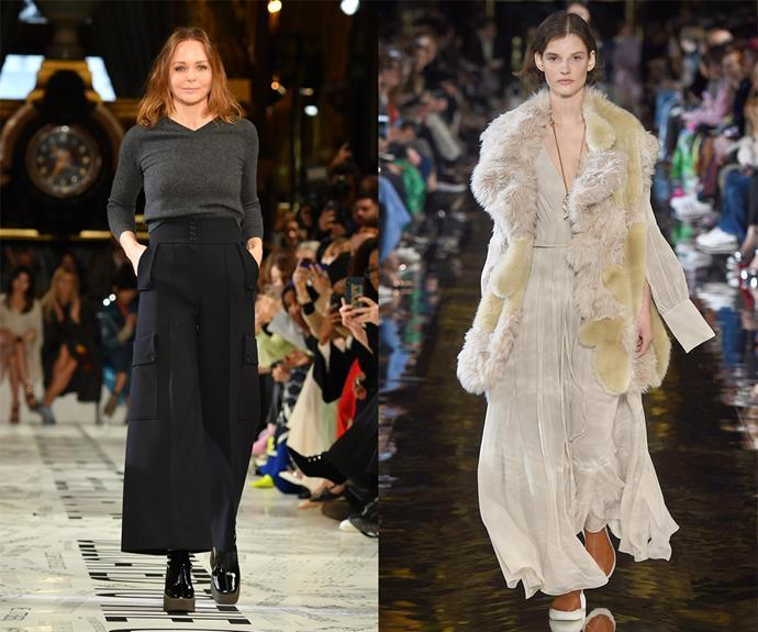 """**Stella McCartney (her eponymous brand)** <br><br> McCartney may be a major fashion name in her own right, but the British designer is also known for championing eco-friendly fashion long before 'sustainability' became a buzz word. <br><br> A longtime vegetarian, McCartney's garments use only faux-fur and faux-leather. In a 2019 interview with *[Refinery29](https://www.refinery29.com/en-us/stella-mccartney-sustainability-fashion-brand-innovation