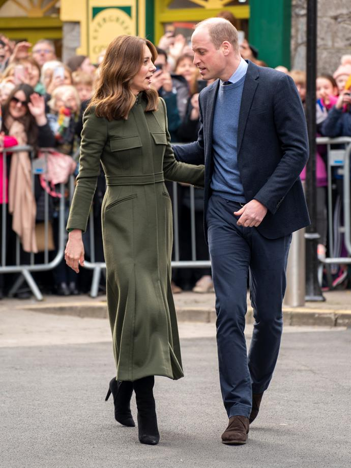 The Duchess of Cambridge wore a green Alexander McQueen coat for the third day of her Irish tour in March.