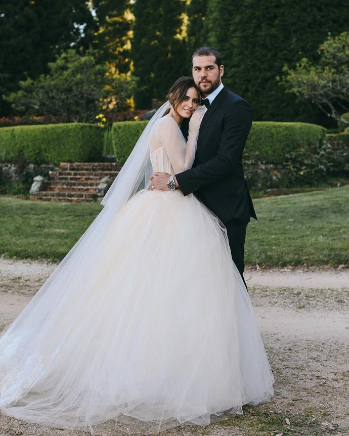 "**Jesinta Franklin**<br><br>  Model and entrepreneur Jesinta Franklin wore a custom, corseted Vera Wang dress at her 2016 Blue Mountains wedding to AFL star Lance ""Buddy"" Franklin.<br><br>  *Image via [@jessinta_franklin](https://www.instagram.com/jesinta_franklin/