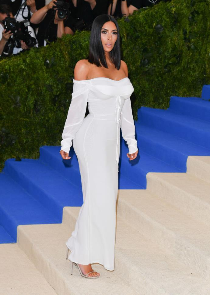 "**Kim Kardashian West in Vivienne Westwood at the Met Gala (2017)** <br><br> When Kim Kardashian attended the [2017 Met Gala](https://www.harpersbazaar.com.au/fashion/met-gala-best-worst-dressed-2017-9261|target=""_blank"") in this low-key Vivienne Westwood number, people couldn't help but note how subtle it was compared to her looks from previous galas (note, the metallic Balmain she wore in 2016, or the [Cher](https://www.harpersbazaar.com.au/fashion/cher-fashion-celebrities-copied-18690