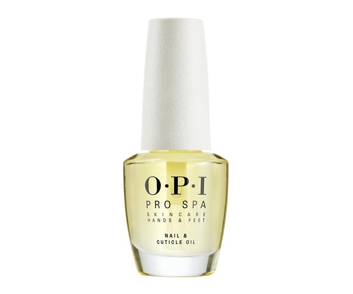"""**OPI Pro Spa Nail & Cuticle Oil, $26.95, [Myer](https://www.myer.com.au/p/opi-nail---cuticle-oil-148-ml-503872480-503865280 target=""""_blank"""" rel=""""nofollow"""")**  Containing an impressive complex of avocado, sunflower and grape oil, a single drop of this oil equals a big dose of nourishment."""