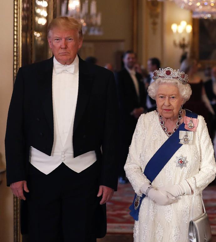 "**Queen Elizabeth's ruby tiara at a meeting with President Donald Trump**<br><br>  While the royal family goes to great lengths to remain politically neutral, some royal watchers believed the tiara Queen Elizabeth wore to meet U.S. President Donald Trump during his state visit to the U.K. in June 2019 was anything but.<br><br>  According to [the crown's jeweller](https://www.instagram.com/p/BlkvT_4lCi2/|target=""_blank""