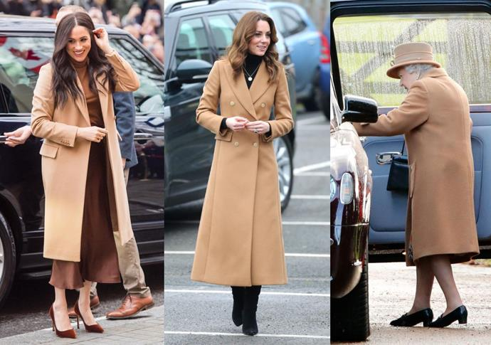 "**Meghan Markle, Kate Middleton and Queen Elizabeth all wearing shades of brown in January 2020**<br><br>  With Meghan Markle and Prince Harry announcing their [decision to step back as senior royals](https://www.harpersbazaar.com.au/fashion/queen-elizabeth-meghan-markle-relationship-19809|target=""_blank"") in the first week of January 2020, the first month of the year marked a significant period of change for the British monarchy.<br><br>  It was also around this time, that the Duchess of Sussex (pictured left, on January 7, the day before their announcement), the Duchess of Cambridge (centre, on January 22) and Queen Elizabeth, who typically favours bright colours and once said she would ""never wear beige"" (right, on January 12), all began donning shades of brown. According to veteran style reporter Elizabeth Holmes, there was a reason for the [royals' sudden shift towards beige](https://www.harpersbazaar.com.au/fashion/queen-elizabeth-meghan-markle-relationship-19809