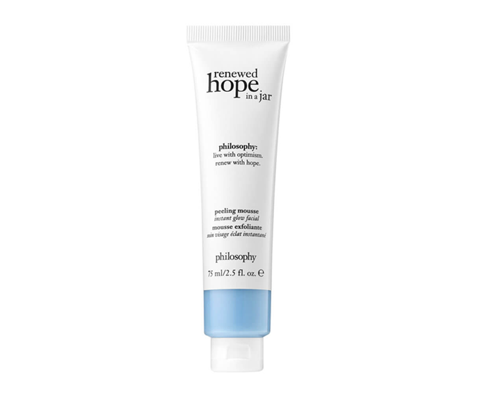 """**Renewed Hope in a Jar Peeling Mousse by philosophy, $50 at [MECCA](https://www.mecca.com.au/philosophy/renewed-hope-in-a-jar-peeling-mousse/I-037751.html?gclid=CjwKCAjwsMzzBRACEiwAx4lLGzv461SbeZk2LPh90yZYvDDDRvrcCBUQ0avJhkkR_wDjEiK2tH-QohoCwfMQAvD_BwE