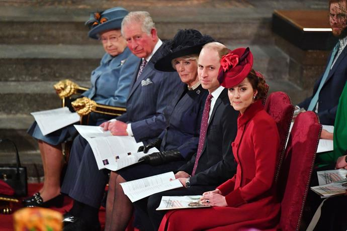 Elizabeth II with Charles, Prince of Wales, Camilla, Duchess of Cornwall, and the Duke and Duchess of Cambridge (Prince William and Kate Middleton) earlier in March 2020.