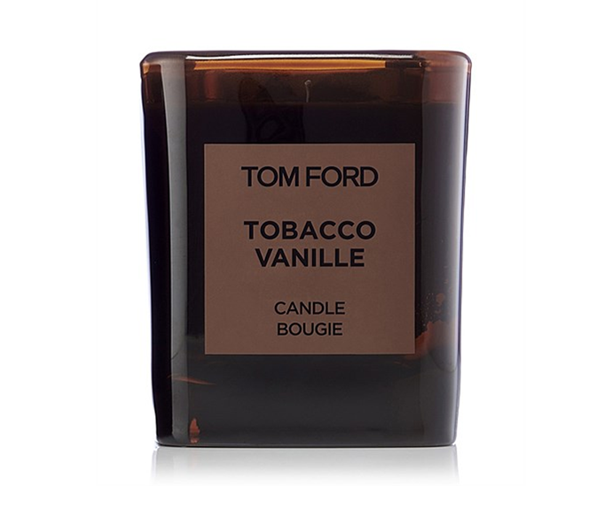 "**Tobacco Vanille Candle by Tom Ford, $130 at [David Jones](https://www.davidjones.com/Product/20910795/Tobacco-Vanille-Candle|target=""_blank"")**<br></br> Tobacco isn't classically equated with tranquility, and yet when teamed with vanilla and cacao, it's oddly assuasive."