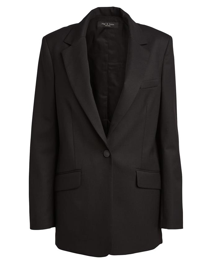 "**The wear-with-everything classic** <br><br> An eternally wearable piece from an eternally wearable label, Rag & Bone's classic black 'Ames' blazer is classic, safe, and will work with literally anything in your wardrobe. <br><br> *'Ames' blazer by Rag & Bone, $865 at [SSENSE](https://fave.co/39lONS8|target=""_blank""