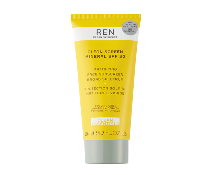 """**Clean Screen Mineral SPF 30 Mattifying Face Sunscreen by REN Clean Skincare, $68.76 at [REVOLVE](https://www.revolveclothing.com.au/ren-clean-skincare-clean-screen-mineral-spf-30-mattifying-face/dp/RENR-WU49/