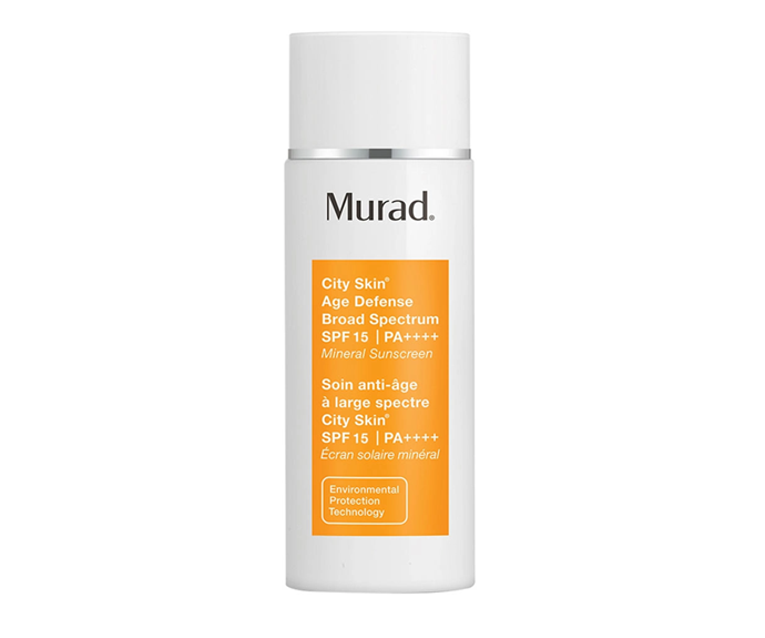 """**City Skin Age Defense Broad Spectrum SPF15 by Murad, $90 at [Sephora](https://www.sephora.com.au/products/murad-city-skin-age-defense-broad-spectrum-spf15/v/default
