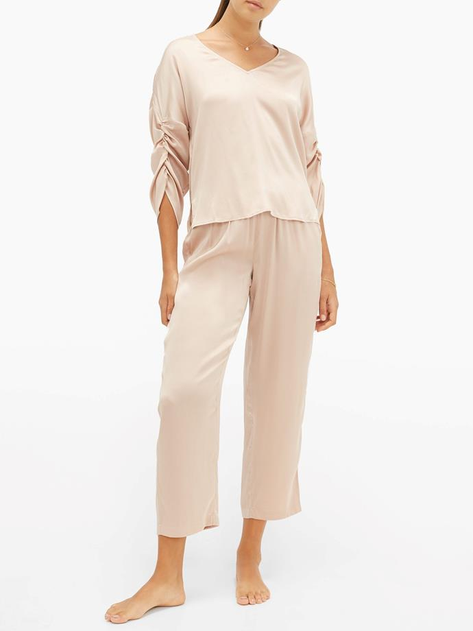 "Therese gathered silk-blend habotai pyjama top by Skin, $315, and tawny cropped silk-blend habotai pyjama trousers by Skin, $315, both from [MATCHESFASHION.COM](https://fave.co/2UMdfGX|target=""_blank""