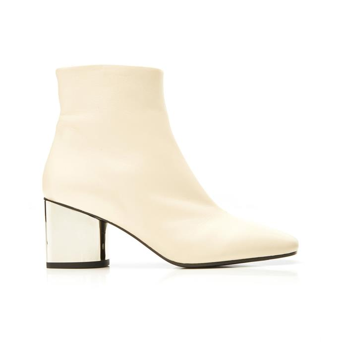 "**The modern white ankle boot** <br><br> We can imagine [Sharon Tate](https://www.harpersbazaar.com.au/fashion/sharon-tate-fashion-18331|target=""_blank"") wearing these sleek, mirror-heeled boots by Proenza Schouler if she lived in 2020, which are the perfect mix of retro and futuristic. <br><br> *Metallic leather ankle boots by Proenza Schouler, $875 at [Moda Operandi](https://fave.co/2UP3Nmb
