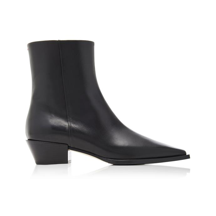 "**The wear-with-everything black boot** <br><br> Featuring a just-high-enough heel, these boots from German brand Aeyde (featuring a statement cut-off toe) are the type you'll still be swooning over in years to come. <br><br> *'Ruby' leather ankle boots by Aeyde, $530 at [Moda Operandi](https://fave.co/3awiz7Z|target=""_blank""