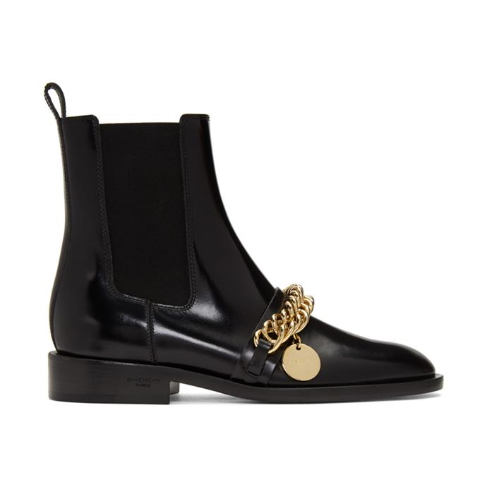 "**The trendy kicks** <br><br> No matter how demure the wearer's wardrobe might be, everyone's shoe closet needs a dash of showiness, which is why we love these Givenchy boots (not to mention the high-key flashy chain across the top). <br><br> *Black chain ankle boots by Givenchy, $1,755 at [SSENSE](https://fave.co/3dML17V|target=""_blank""
