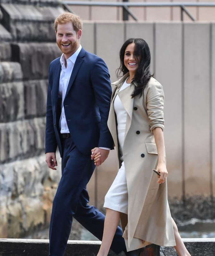 "**October 2018: Meghan Markle and Prince Harry announce that they are expecting their first child on their first royal tour**<br><br>  Just hours after touching down in Sydney for the start of their first royal tour, Meghan and Harry announced that they were expecting their first child. The [joyous announcement of Meghan's pregnancy](https://www.harpersbazaar.com.au/culture/meghan-markle-pregnant-17502|target=""_blank"") was shared via Kensington Palace's Twitter page.<br><br>  The Duchess, pictured here on their first day in Sydney, aroused some suspicions when she was seen carrying two large files in front of her stomach when deplaning."