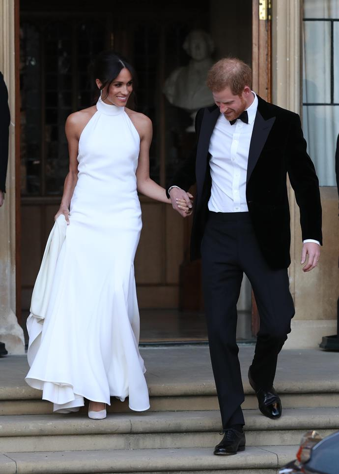"**May 2018: Meghan Markle and Prince Harry marry in St. George's Chapel**<br><br>  The [Duchess' Stella McCartney wedding reception dress](https://www.harpersbazaar.com.au/fashion/celebrity-reception-wedding-dresses-18802|target=""_blank"") was a stark departure from her wedding gown, but became equally iconic."