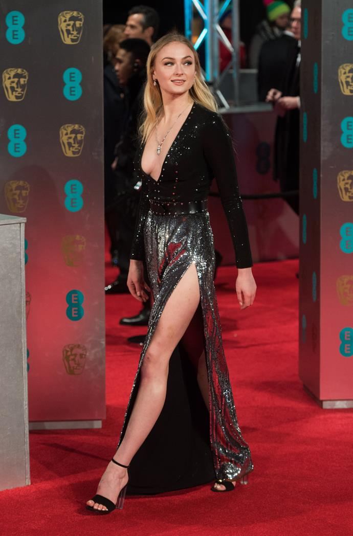For the 2017 BAFTAs, Turner opted for a striking sequinned gown by her favourite designer, complete with a serious split.