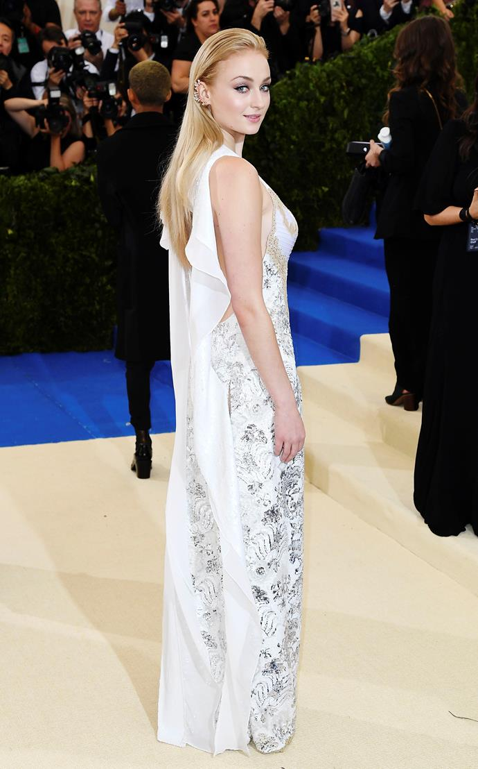 Mastering Rei Kawakubo's art of in-between at the 2017 Met Gala, Turner took to the carpet in an intricately embellished lace gown that epitomised classic couture. And the frill cape? To die for. A literal angel.
