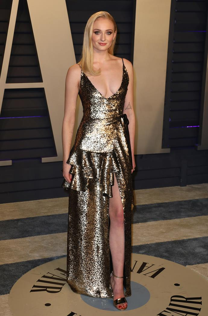 Are you starting to get the sense that Turner takes party dressing seriously? Her golden Louis Vuitton gown from the Vanity Fair Oscar's after party in 2019 is still one of our favourite disco-fuelled moments from the red carpet.