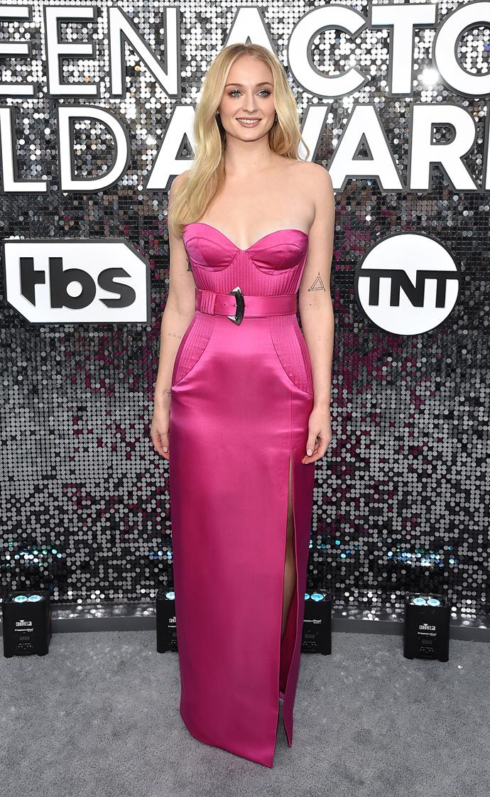 Add this to your 'what I want to wear on my first night out post-isolation' board. Turner's perfectly sculpted silhouette from the SAG awards is a chic lesson in colour.