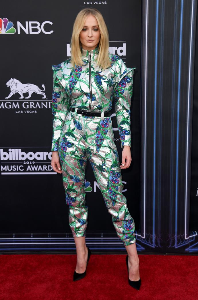 With structural shoulders and trompe l'oeil design, Turner's 2019 Billboard Music Awards spacesuit eschewed her preference for understated glam and made a serious case for high-octane ensembles.