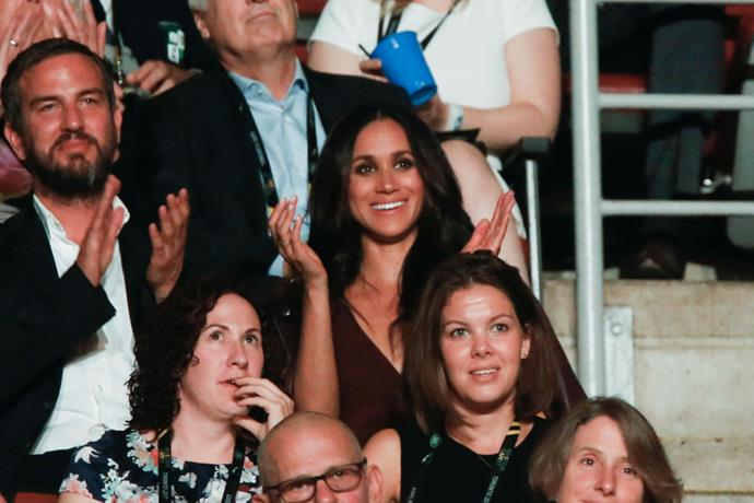 "**September 2017: Meghan Markle and Prince Harry attend the Invictus Games In Toronto**<br><br>  Although Meghan Markle and Prince Harry reportedly started dating in 2016, their attendance of the September 2017 Invictus Games in Toronto marked their [first public appearance as a couple](https://www.harpersbazaar.com.au/celebrity/prince-harry-meghan-markle-invictus-games-14427|target=""_blank""). And while it was their debut outing, the couple did not actually sit together, with photographs indicating the pair were some 20 seats apart."