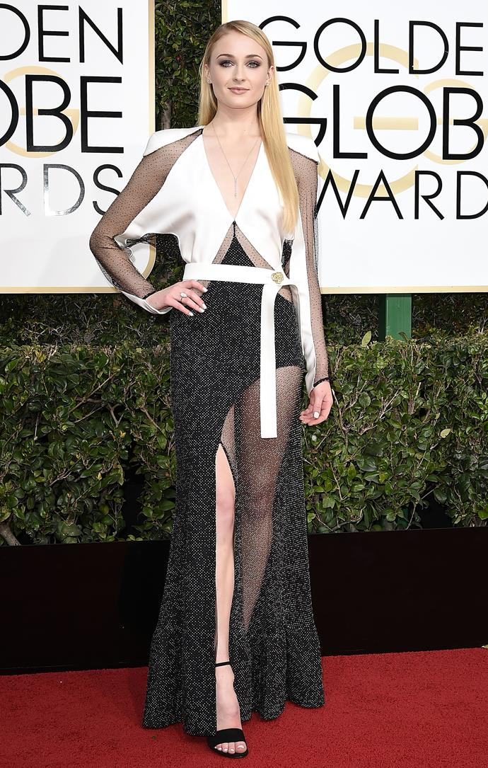 Turner's 2017 Golden Globes gown effortlessly dipped into the realms of maximalism and refined elegance all at once. It's still one of our favourite monochrome moments on a red carpet.