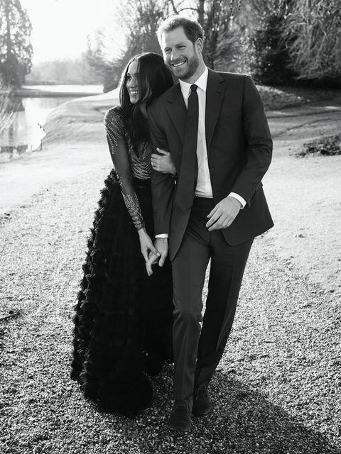 **December 2017: Meghan Markle and Prince Harry release their engagement portraits**<br><Br>  For the occasion, Meghan wore a dress by Australian designers Ralph & Russo, choosing a look from the brand's Fall 2017 couture collection. The wardrobe choice was unorthodox for a soon-to-be royal, not only for its revealing bodice, but also for its $75,000 price tag. Many took it as an early indication of Meghan's progressiveness as a royal.<br><br>