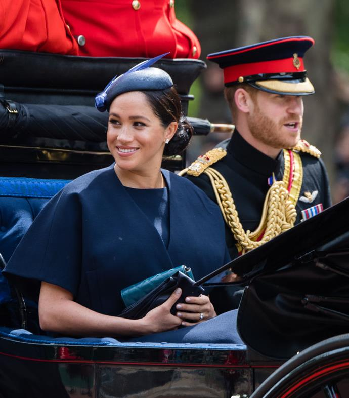 "**June 2019: Meghan Markled attends Trooping The Colour 2019, her first royal engagement since giving birth**<br><br>  After a mere three weeks of maternity leave, the Duchess of Sussex made a return to royal life by attending Trooping The Colour 2019.<br><br>  But while Meghan's mid-maternity leave outing was noteworthy in and of itself, many royal watchers were distracted by a miniscule detail on her left hand: [a third ring on her finger](https://www.harpersbazaar.com.au/fashion/meghan-markle-trooping-the-colour-third-ring-18784|target=""_blank"") comprised of a pavé-set gold band.<br><br>  The ring, which is typically described as an eternity band, was believed to have been a gift from Prince Harry, likely to commemorate the arrival of baby Archie."