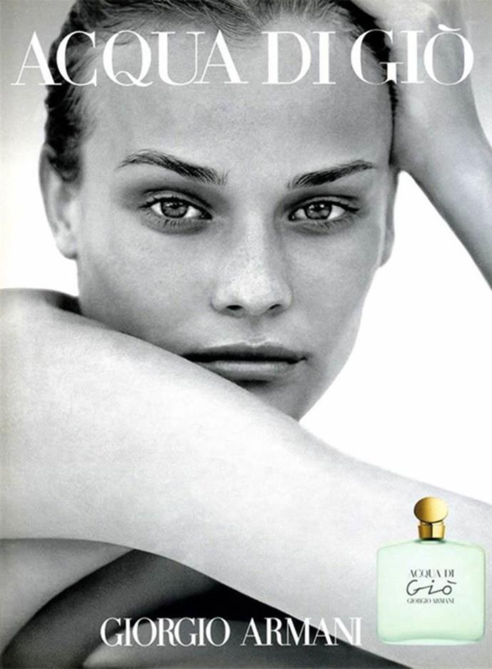 **Diane Kruger** <br><br> Kruger is now an actress and Chanel muse, but started out as an editorial model, pictured here in a '90s campaign for Giorgio Armani's 'Acqua Di Gio' fragrance.