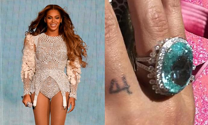 **Beyoncé**<br><br> Beyoncé has three tattoos, but the one pictured above is her most noteworthy. Considering 'four' is the lucky number of both Beyoncé and her husband, Jay-Z, the small number represents her bond with her husband, even for when she's not wearing her colossal Lorraine Schwartz engagement ring.