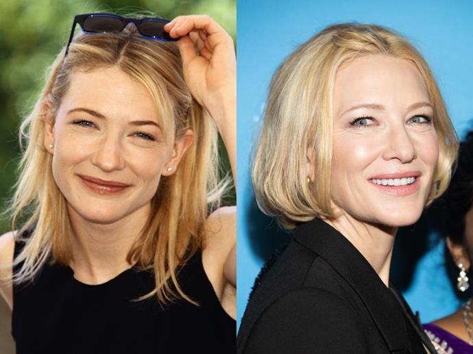 **Cate Blanchett**<br><br>  One of the greatest Australian actresses to have ever treaded the boards, Cate Blanchett started her career in theatre opposite Geoffrey Rush in the early '90s. Today, Blanchett (pictured left in 1994, and right in February 2020) is one of the country's greatest exports and a true icon of both stage and screen.