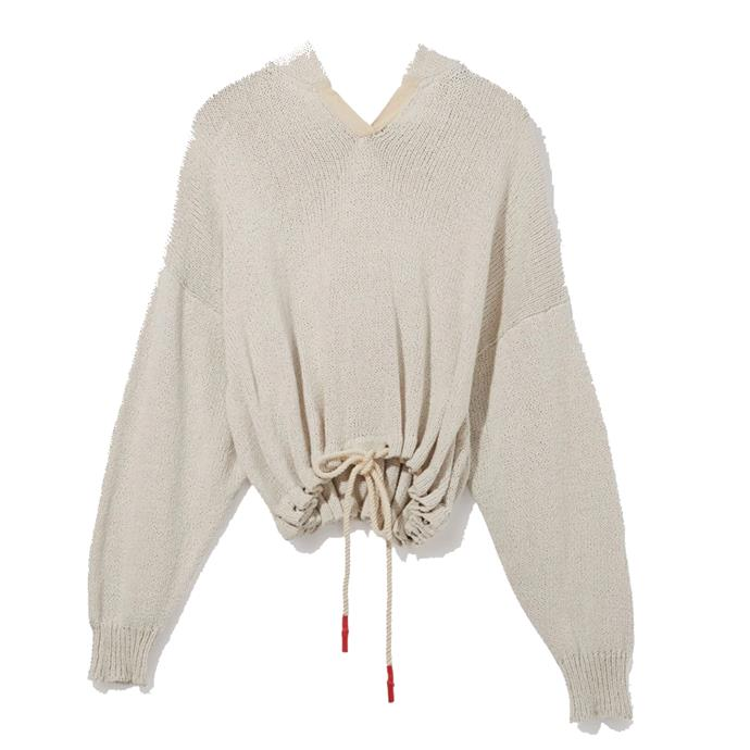 "**Cotton oversized knit hoodie by Bassike, $395 at [Bassike](https://www.bassike.com/products/cotton-oversized-knit-hoodie-r20wk02-white|target=""_blank""