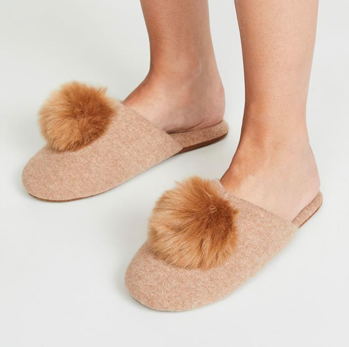 """**Cashmere Pom Pom Slippers by Minnie Rose, $253, at [Shopbop](https://www.shopbop.com/cashmere-pom-slippers-minnie-rose/vp/v=1/1547570965.htm?fm=search-viewall-shopbysize&os=false&ref_=SB_PLP_NB_24