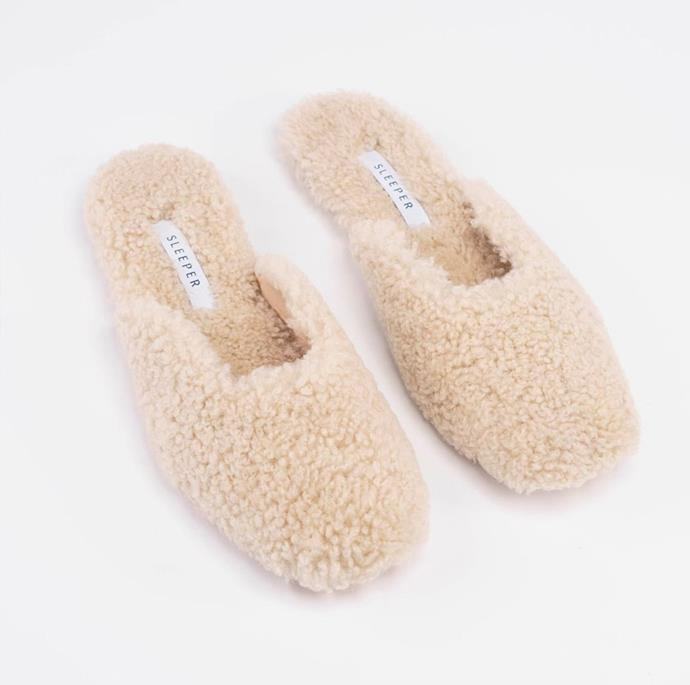 """**Cream Shearling Slippers, $635, at [Sleeper](https://the-sleeper.com/en/product/cream-shearling-slippers/