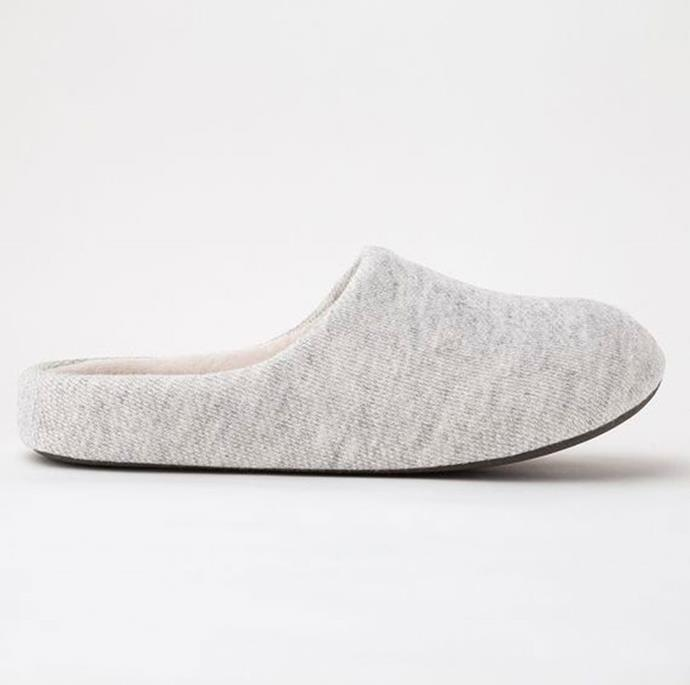 """**Room Shoes, $19.90, at [Uniqlo](https://www.uniqlo.com/au/store/room-shoes-4234940009.html
