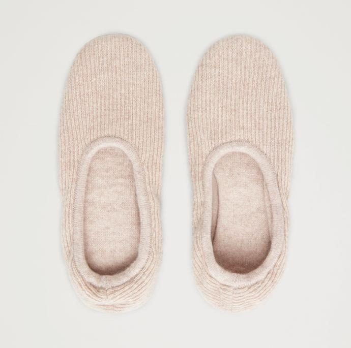 """**Ribbed Cashmere Slippers, $145, at [COS](https://www.cosstores.com/en/women/accessories/product.ribbed-cashmere-slippers-beige.0760298001.html?gclid=CjwKCAiAlajvBRB_EiwA4vAqiMTpjQ132ae5KXk_gZcpG4YWtl0qiG16cbUF8mhDSqhQo22EtQOiYxoC0AYQAvD_BwE&utm_source=Skimlinks+%28Variable+Pricing%29&utm_medium=affiliate&utm_campaign=1&utm_content=10&utm_term=745585&ranMID=42840&ranEAID=tv2R4u9rImY&ranSiteID=tv2R4u9rImY-YKZn8CcrfV.jy_qZ_6AbiQ