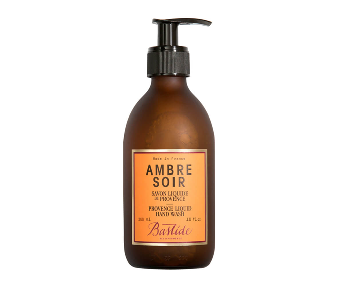 "**Ambre Soir Provence Liquid Hand Wash by Bastide, $53 at [MECCA](https://www.mecca.com.au/bastide/ambre-soir-provence-liquid-hand-wash/I-030086.html|target=""_blank"")**<br></br> With amber, patchouli and musk, it's rich, refreshing and a pleasure to rinse."