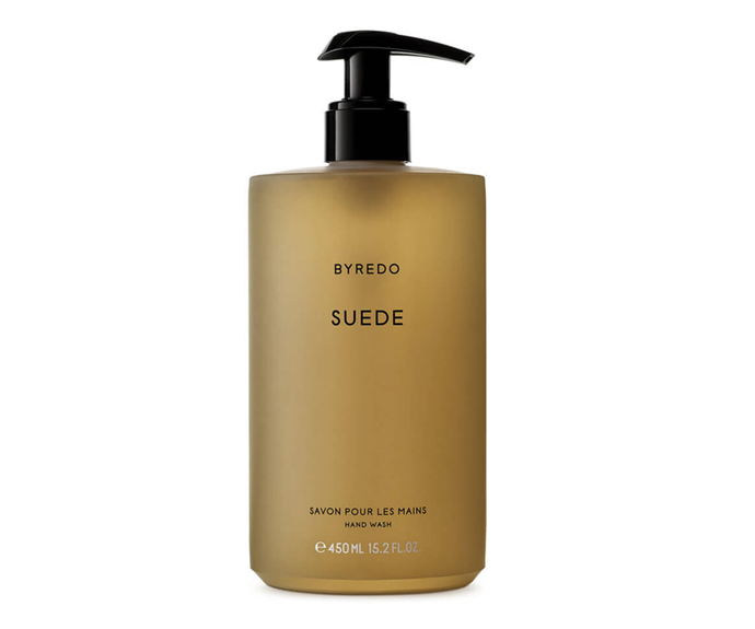"**Suede Hand Wash by Byredo, $71 at [MECCA](https://www.mecca.com.au/byredo/suede-hand-wash/I-023261.html#q=hand%2Bwash&start=1|target=""_blank"")**<br></br> Bathroom essentials, Byredo style; a conditioning mix of musk and violet."