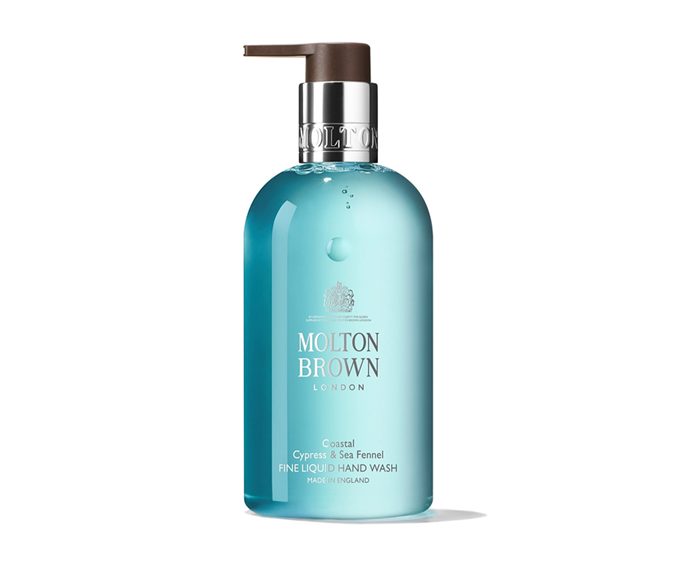 "**Coastal Cypress & Sea Fennel Fine Liquid Hand Wash by Molton Brown, $39 at [David Jones](https://www.davidjones.com/beauty/bath-and-body/body/hand-soap-and-hand-sanitiser/22459957/COASTAL-CYPRESS-And-SEA-FENNEL-LIQUID-HAND-WASH-300ML.html|target=""_blank"")**<br></br> Allow your senses to escape to the ocean with this aquatic aroma."