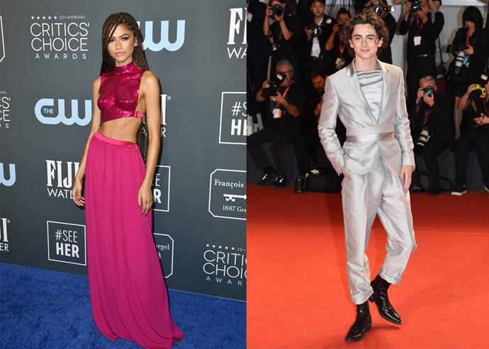 Zendaya in Tom Ford at the 2020 Critics' Choice Awards; Timothée Chalamet in Haider Ackermann at the 2019 Venice Film Festival.