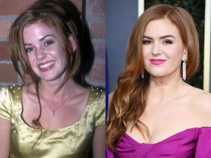 """**Isla Fisher**<br><br>  Although Isla Fisher may be an esteemed Hollywood actress known for her incredible comic timing today (pictured left in 1990, and pictured right at the [2020 Golden Globes](https://www.harpersbazaar.com.au/fashion/golden-globes-2020-red-carpet-19755