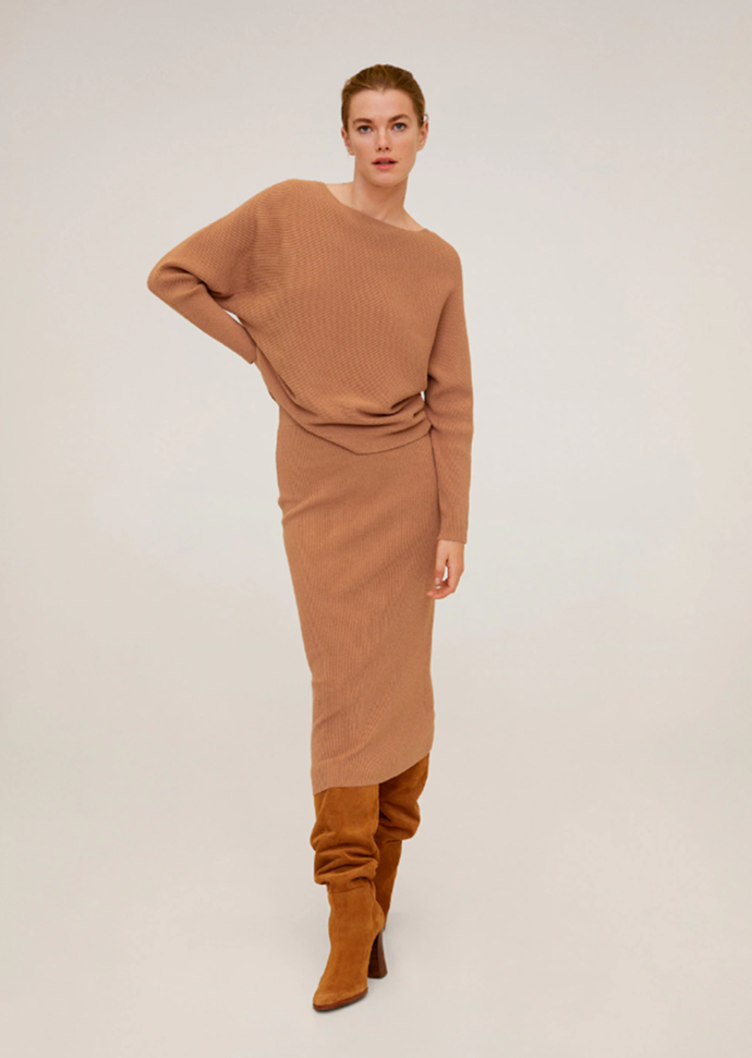 """[Ribbed sweater](https://fave.co/2RRZu9d target=""""_blank"""" rel=""""nofollow""""), $59.99 (down from $59.95), [cable knit skirt](https://fave.co/3atqxOh target=""""_blank"""" rel=""""nofollow""""), $69.95, both by [Mango](https://fave.co/3crjuY2 target=""""_blank"""" rel=""""nofollow"""")."""