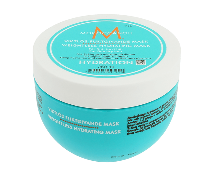 "**Weightless Hydrating Mask by Moroccanoil, $55.95 at [Adore Beauty](https://www.adorebeauty.com.au/moroccanoil/moroccanoil-weightless-hydrating-mask.html|target=""_blank"")**<br></br> If your hair is both dry and fine, opt for a weightless blend—this argan oil-rich option hydrates deeply without dragging down volume levels."