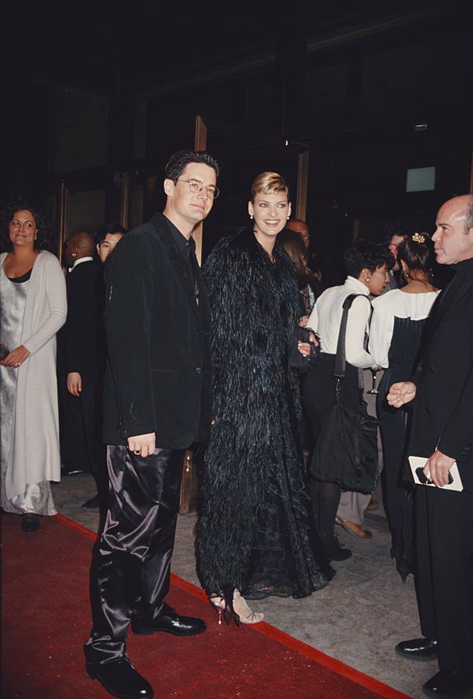 """**Linda Evangelista and Kyle MacLachlan** <br><br> We touched on this oft-forgotten '90s romance in our '[models who dated actors](https://www.harpersbazaar.com.au/celebrity/models-who-dated-actors-19943
