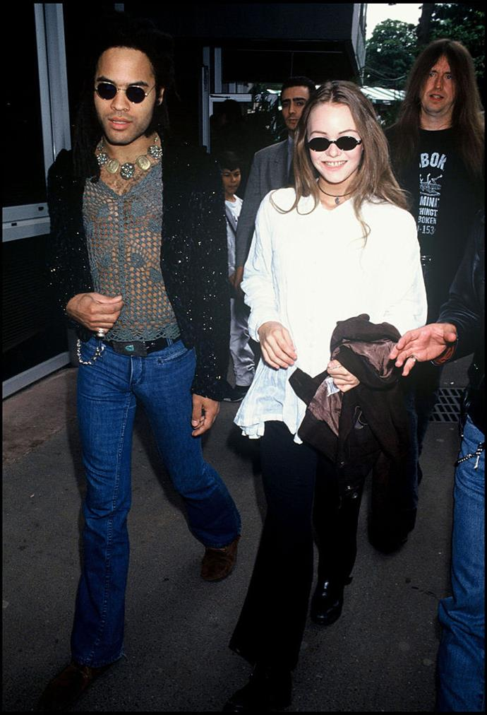 """**Vanessa Paradis and Lenny Kravitz** <br><br> In the early '90s, Lenny Kravitz dated French singer and fashion muse [Vanessa Paradis](https://www.harpersbazaar.com.au/fashion/lily-rose-depp-vanessa-paradis-17970