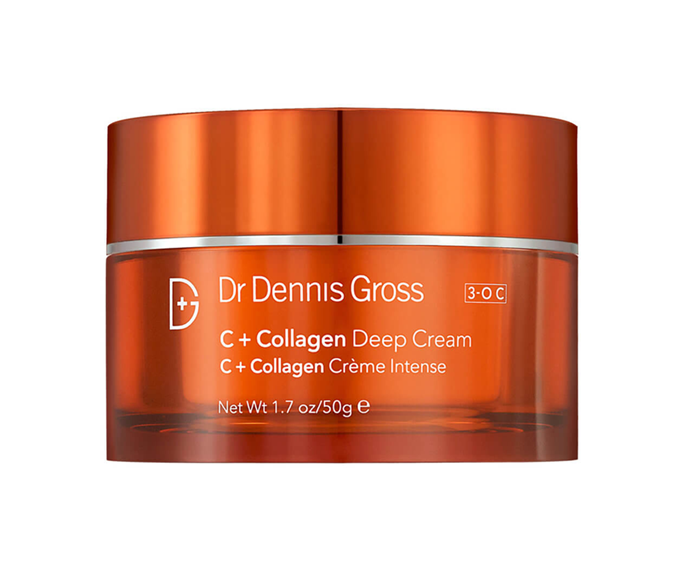 "**C+ Collagen Deep Cream by Dr. Dennis Gross, $115 at [MECCA](https://www.mecca.com.au/dr-dennis-gross/c-collagen-deep-cream/I-026827.html?gclid=CjwKCAjw4pT1BRBUEiwAm5QuR5o_omq1Dr9-W2SByibsOVOm98XoXxOCpOTu5H4ablkTJtH-ELDRARoCK9kQAvD_BwE|target=""_blank"")**<br></br> Revitalise dry, dull, sagging skin with this energising mix of collagen amino acids, niacinamide and vitamin C, able to restore youthful volume and glow."