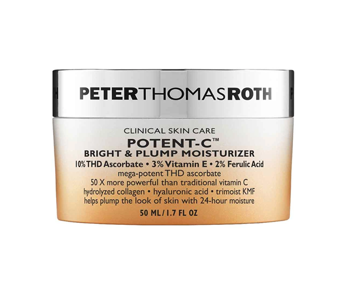 "**Potent-C Bright & Plump Moisturiser by Peter Thomas Roth, $106 at [Sephora](https://www.sephora.com.au/products/peter-thomas-roth-potent-c-bright-and-plump-moisturizer/v/50ml|target=""_blank"")**<br></br> Hydrolysed collagen plumps the surface, while THD Ascorbate (a form of ascorbic acid 50 times more potent than vit-C) triggers cell renewal below."