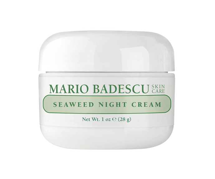 "**Seaweed Night Cream by Mario Badescu, $35 at [MECCA](https://www.mecca.com.au/mario-badescu/seaweed-night-cream/I-004664.html?cgpath=skincare-moisturiser|target=""_blank"")**<br></br> Boost skin texture while you rest with this sensitivity-friendly collagen and seaweed blend, brilliant for boosting brightness and plumpness."