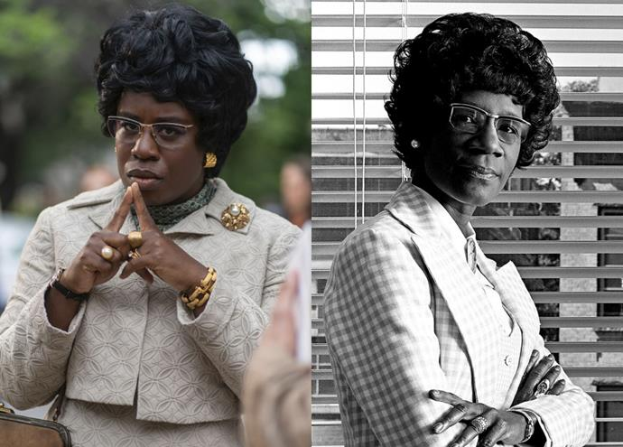 **Uzo Adoba as Shirley Chisholm**<br><br>  *Orange Is the New Black* alum Uzo Aduba embodies the role of Shirley Chisholm, a barrier-breaking African-American politician in the '60s and '70s. A Brooklyn native, Chislholm became the first black woman in U.S. congress, as well as the first black candidate for a major party's nomination for the presidency of the United States.